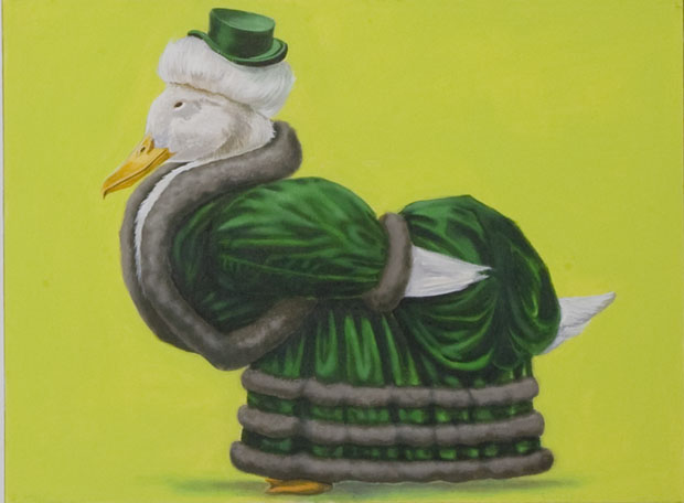 """DuckLady"", house paint on canvas - 2012"