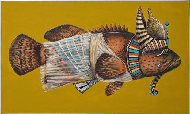"""Egyptian Fish"", house paint on canvas - 2012"