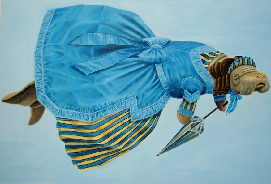 """Civil War Manatee"", house paint on canvas - 2012 36""x48"""
