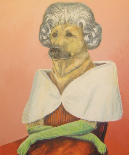 """Rosathedog"", house paint on canvas - 2012 24""x36"""
