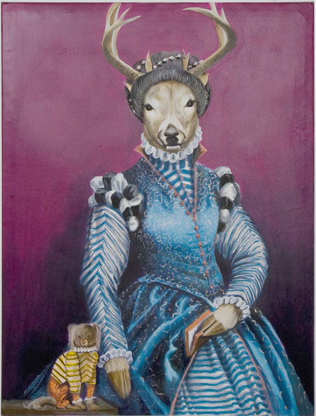 """Deer Lady"", house paint on canvas - 2012 24""x36"""