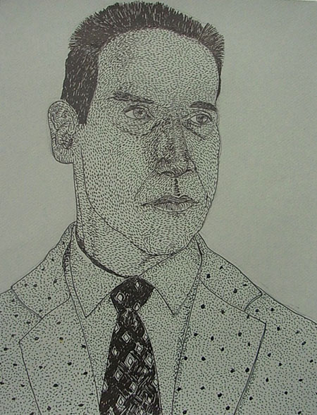 """Agent Gordon"", ink on paper  2013  12""x14"""