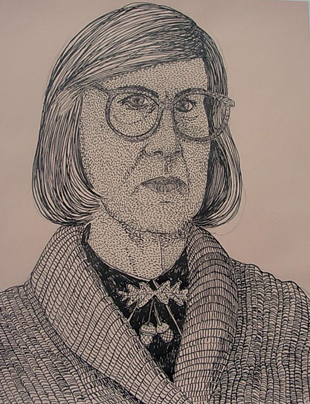 """Log Lady"", ink on paper - 2013  12""x14"""