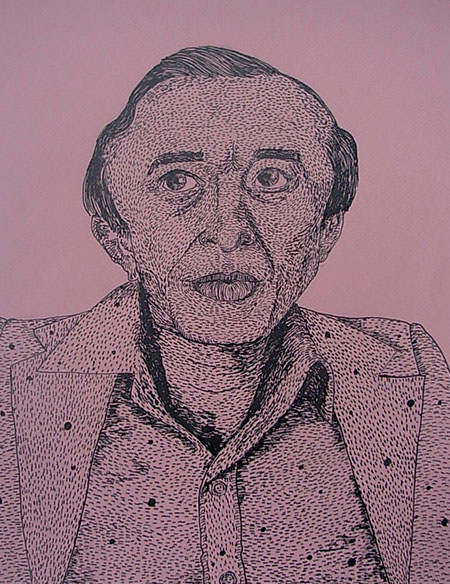 """Black Lodge Midget"", ink on paper - 2012  12""x14"""
