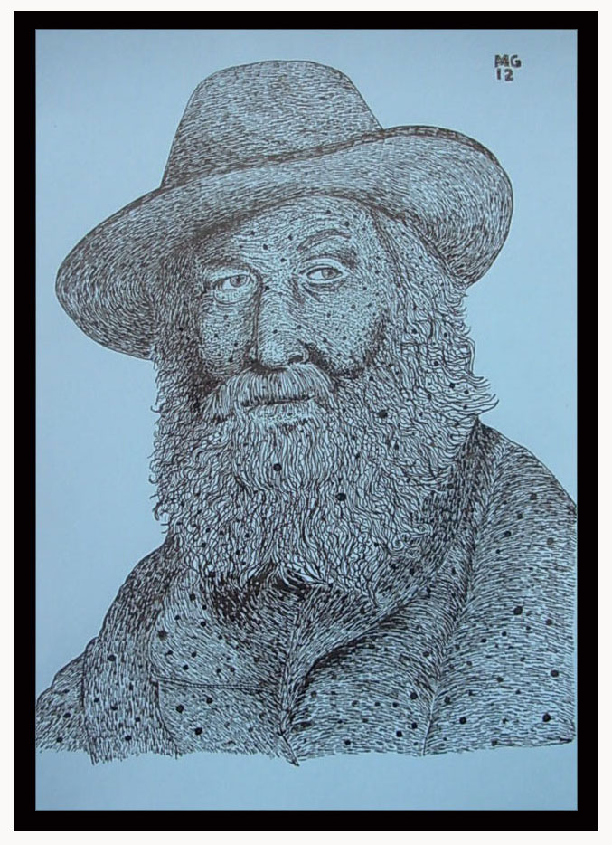 """Walt Whitman"", ink on paper 2012  14""x19"""