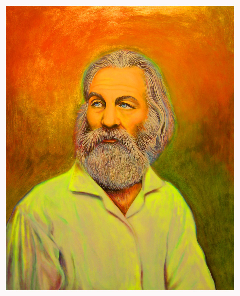 """Walt Whitman"", fluorescent paint on board - 2011 14""x18"""