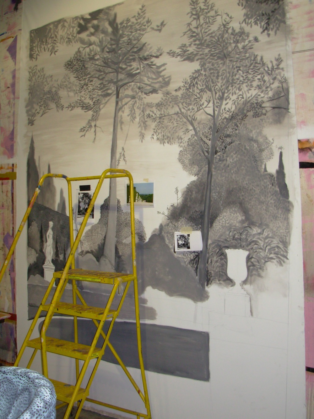 In progress painted backdrop by Mark Gagnon