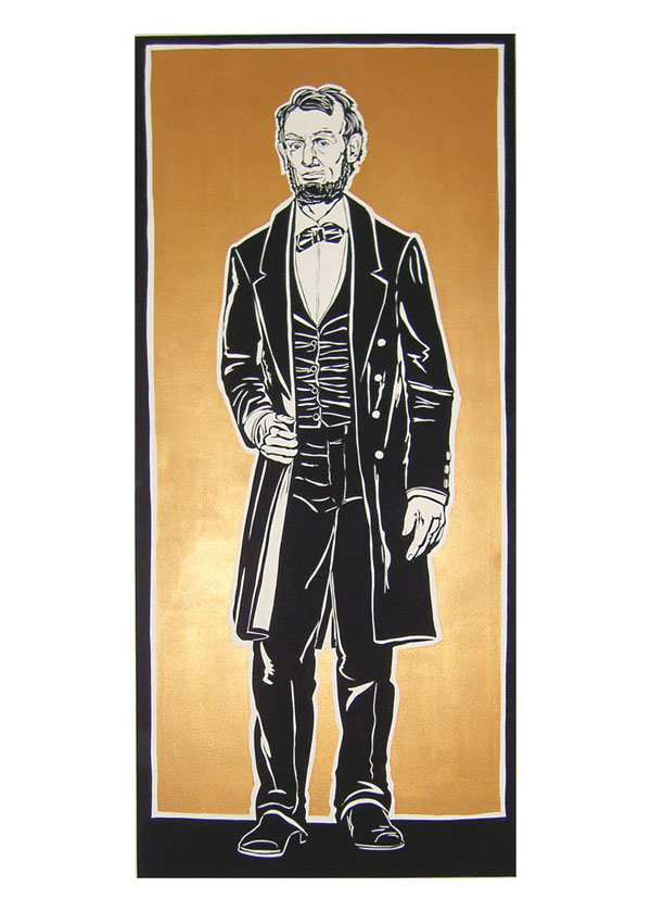 """Lincoln"", house and metallic paint on board - Percent for Art PS169 2009 38""x84"""