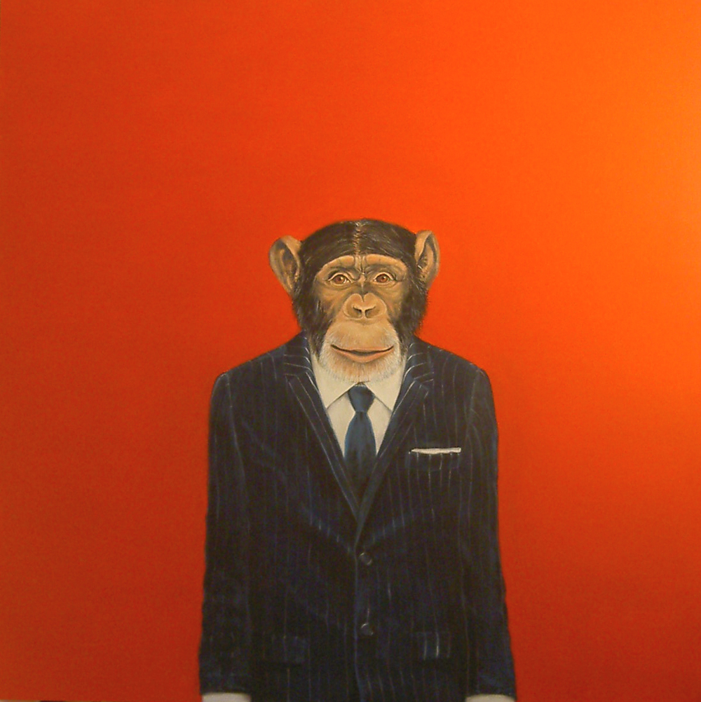 """Monkey Suit 2"", house paint on canvas - 2009 48""x48"""