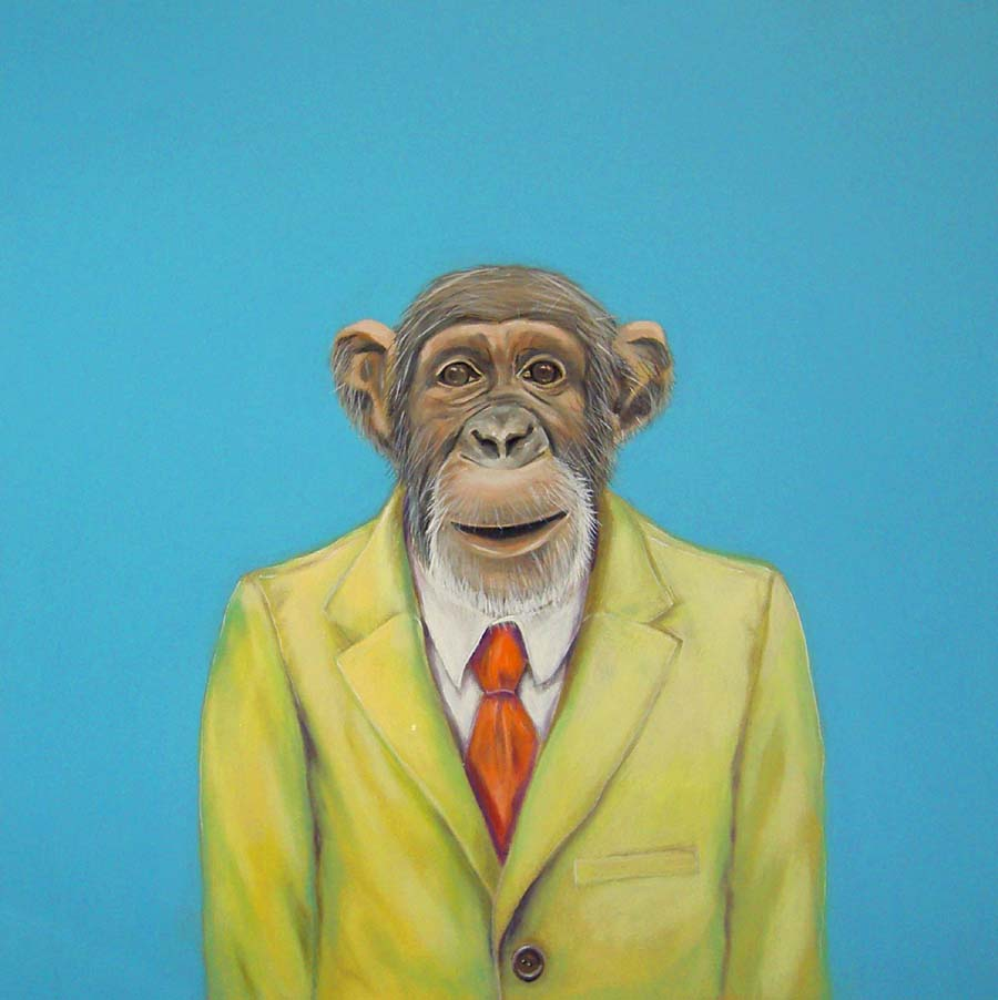 """Monkey Suit 1"", house paint on canvas - 2009 20""x20"""