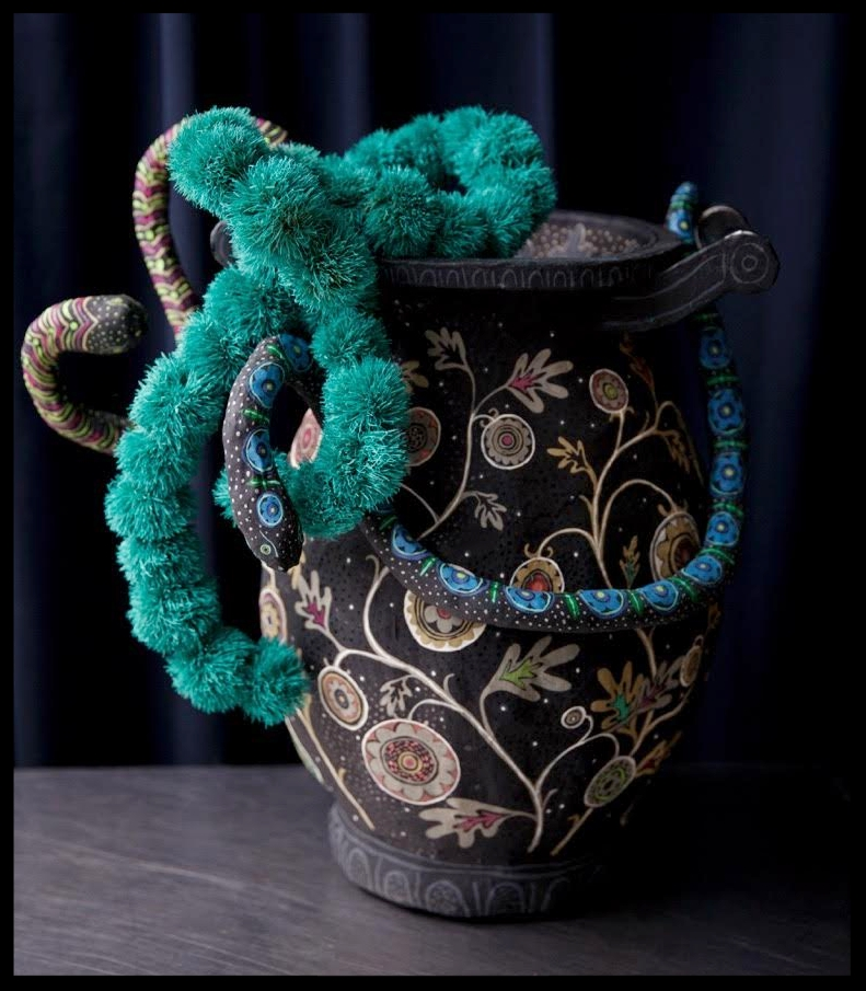 Large urn with snakes