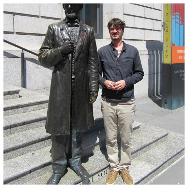 Me and abe on the steps of the New York Historical Society at the beginning of the project.