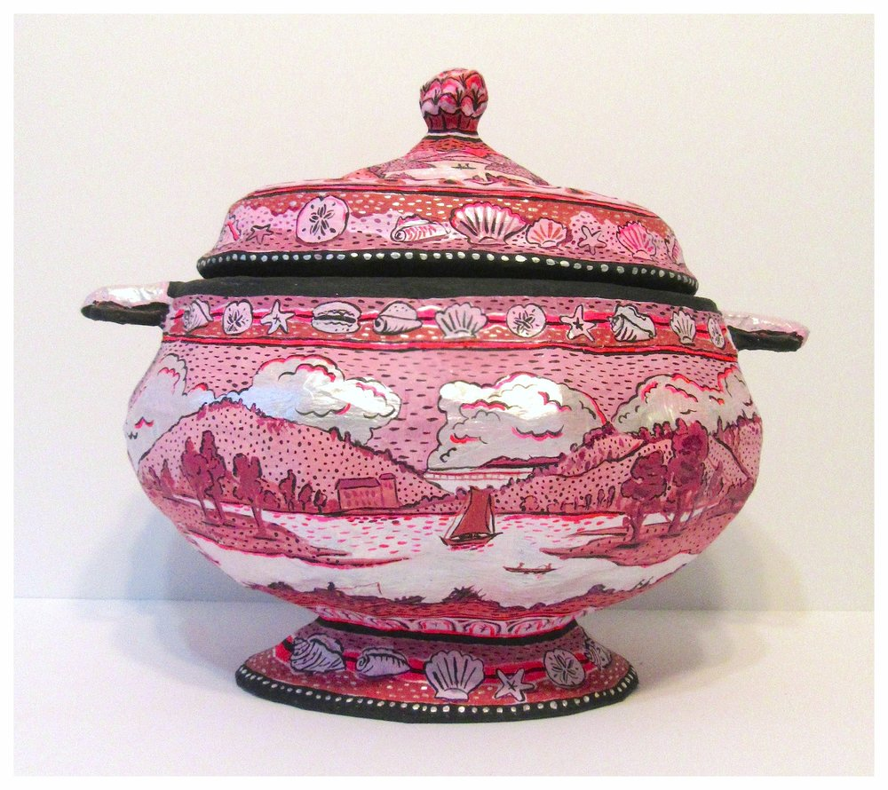 "Soup Tureen   ""Modeled after an Enoch and Sons piece entitled"" Belleville on the Pasaic River""  Paper mache, masking tape ,bubble wrap 2017  aproximately 15 inches by 12 inches  Made exclusively for Bergdorf Goodman holiday window     *available for purchase in ""shop"" section on this website"