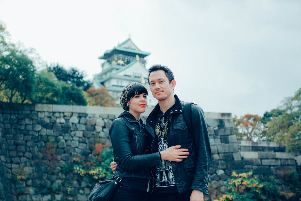 Family portrait in front of Osaka Castle