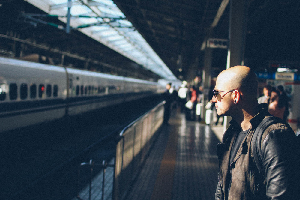Paolo waiting on the platform.