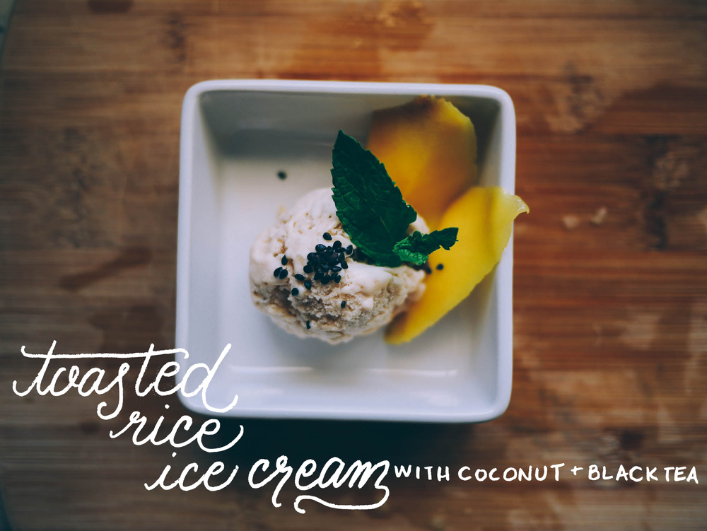Toasted Rice Ice Cream with Coconut and Black Tea | metalandhoney.com #jenisathome