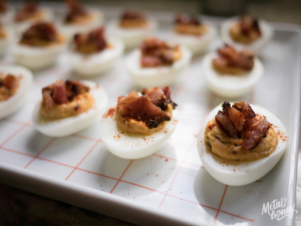 Chelsea Market Cookbook Bacon Deviled Eggs | metalandhoney.com