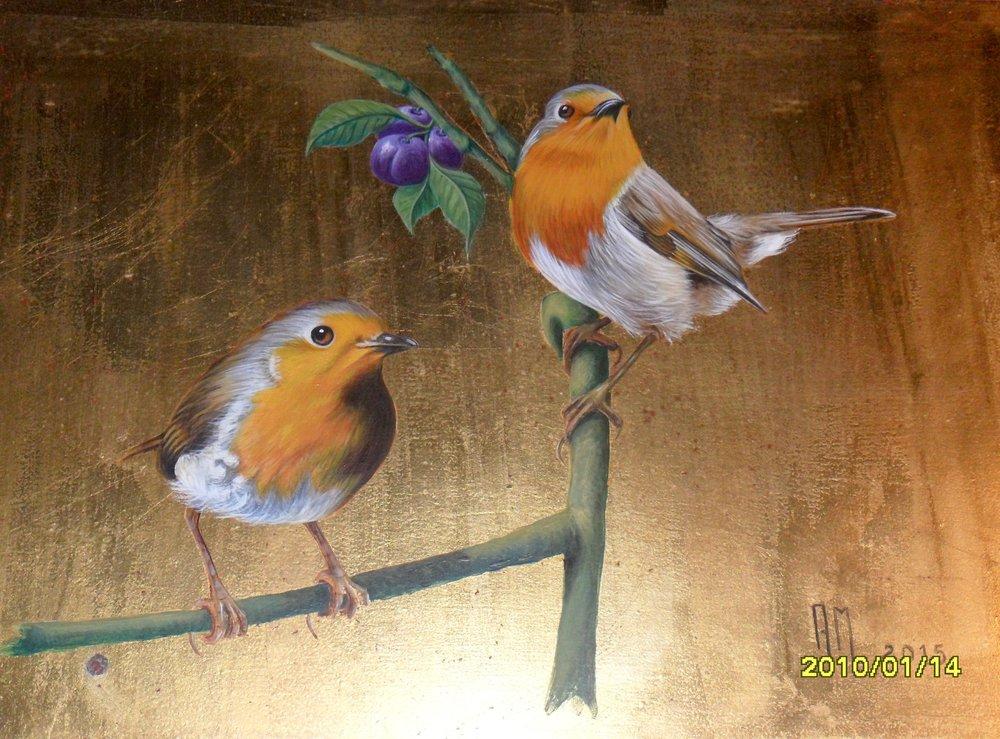 Painting over golden leaf paper, Ana Margarida