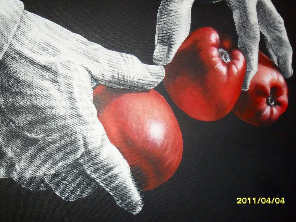 Saller of apples, acrylic, Ana Margarida