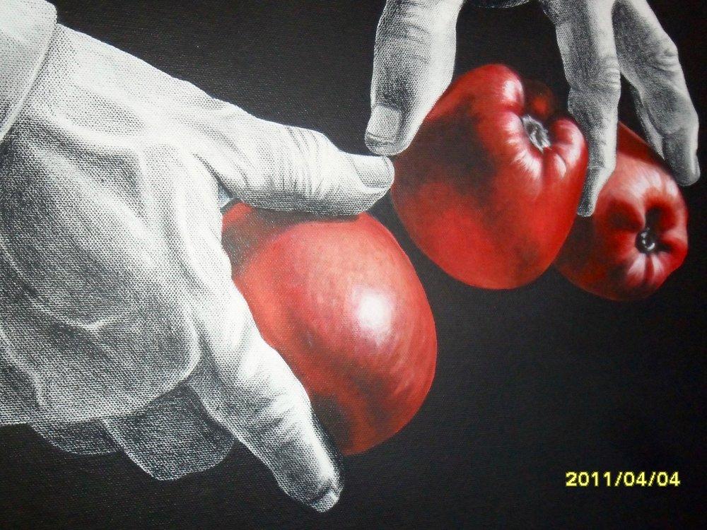 Saller of apples, acrylic, Ana Margarida