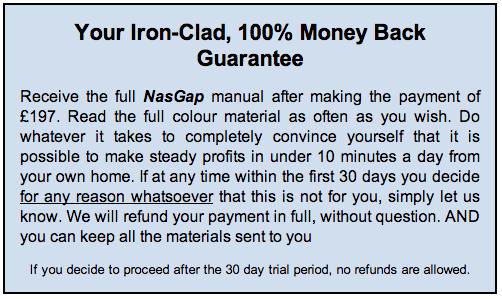 Nasgap Trading System Money Back Guarantee