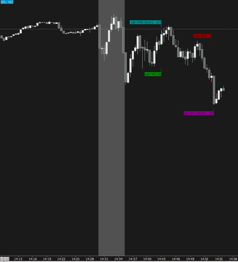 Image of NQ Futures Trading Chart +45
