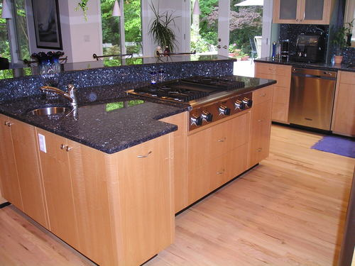 Bookmatched Tiger Striped Maple Cabinets Blue Pearl Granite Countertops Backlit Glass Block Island Accent