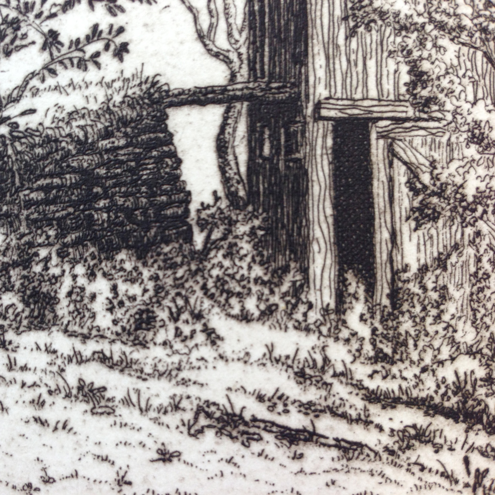 Detail of the line etching.