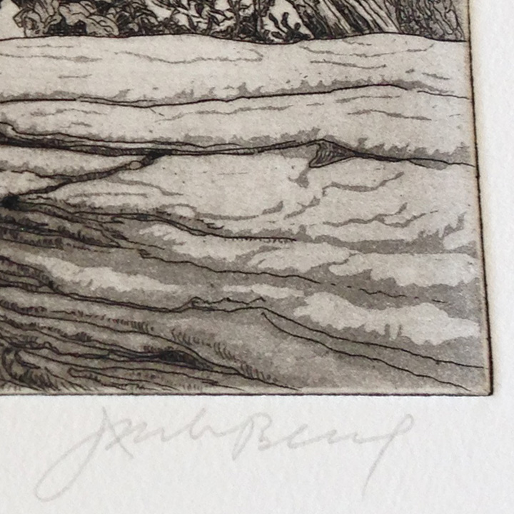 Jack's signature, lower right, with close-up of the aquatint tones.