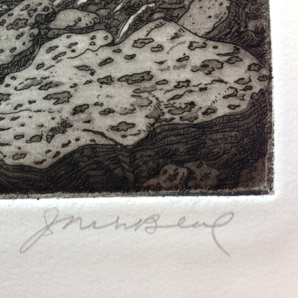 Jack's signature, lower right, with detail of the aquatint tones.