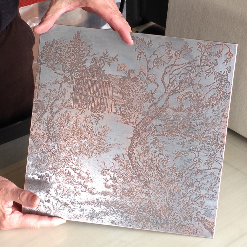The deep etch of the soft ground is evident and the copper plate is beginning to show through the steel facing after it was proofed and editioned many times.