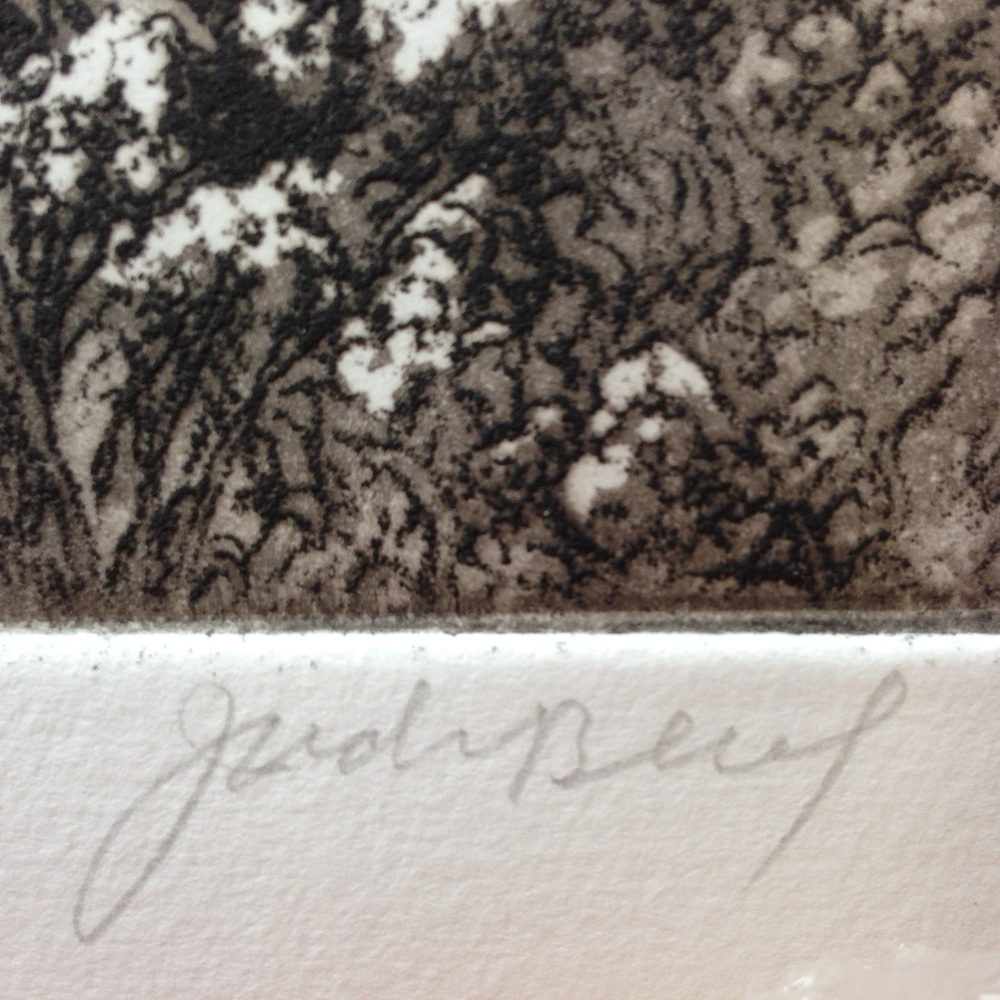 Jack's signature, lower left, and details of soft ground and aquatint.
