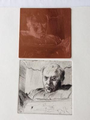 Looking into a mirror reverses the image; pulling a print reverses it again. Jack was 34 years old when he made this  self-portrait in 1965.
