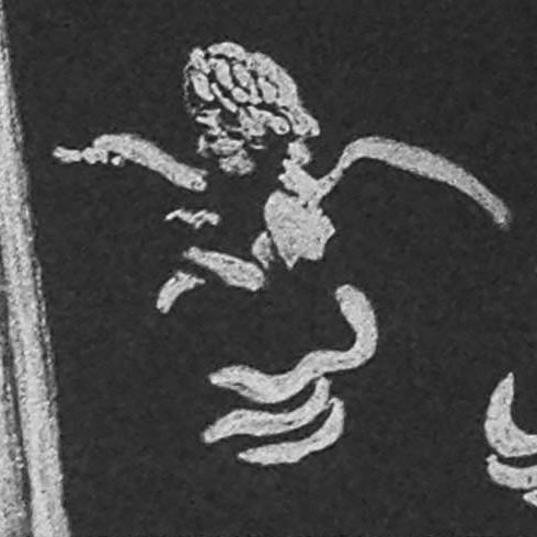 A detail of one of the angels in the lower left corner of the print.