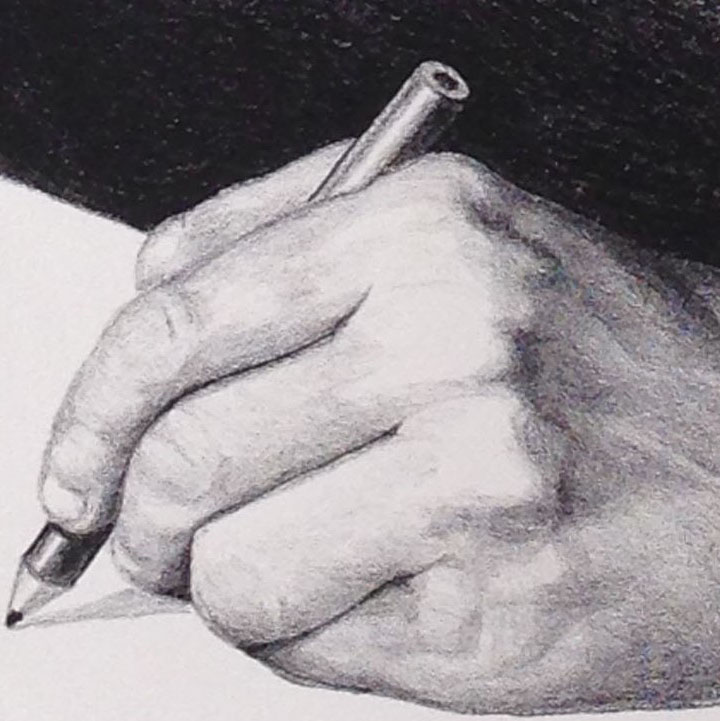 Also in a detail from a print. Jack might actually have a litho crayon (also called a litho pencil) in his hand.