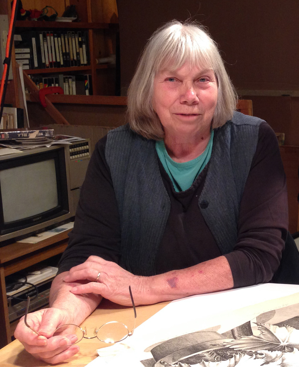 Sondra Freckelton, in her studio near Oneonta, NY, April, 2014