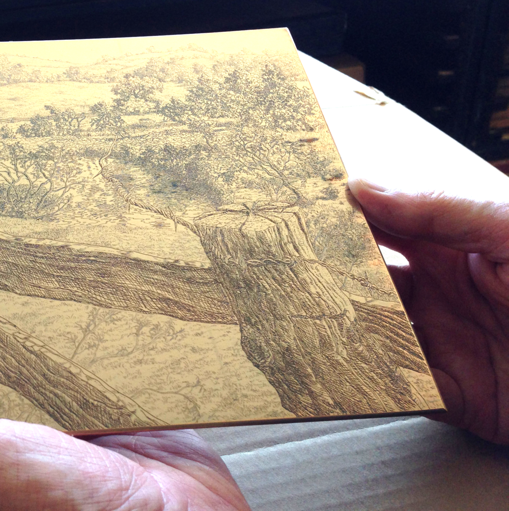 The copper plate was developed entirely with line etching.