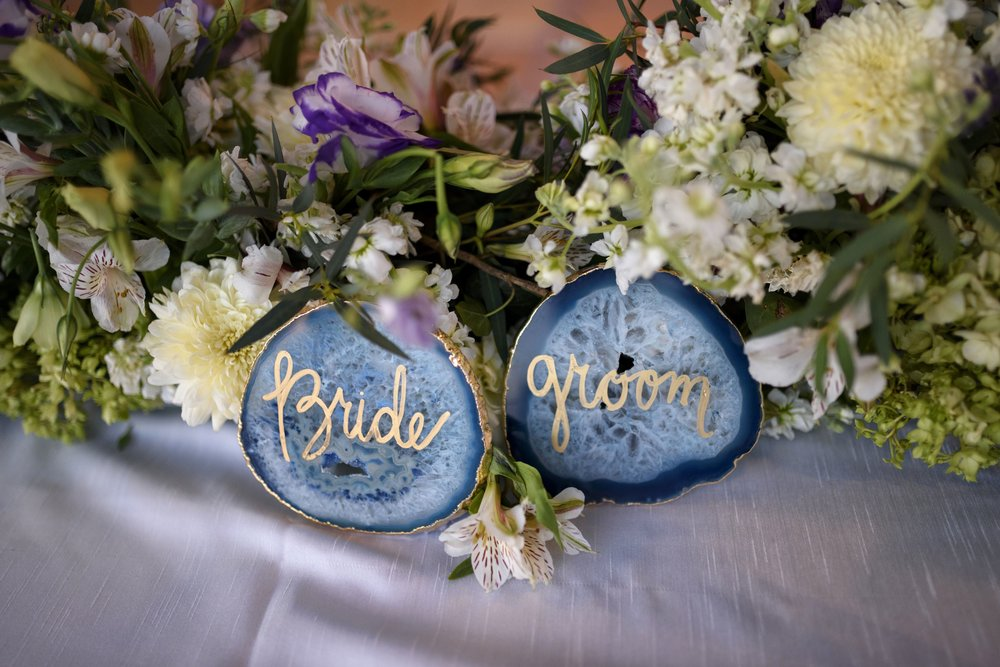 Blue Agate coasters served as Bride and Groom place settings