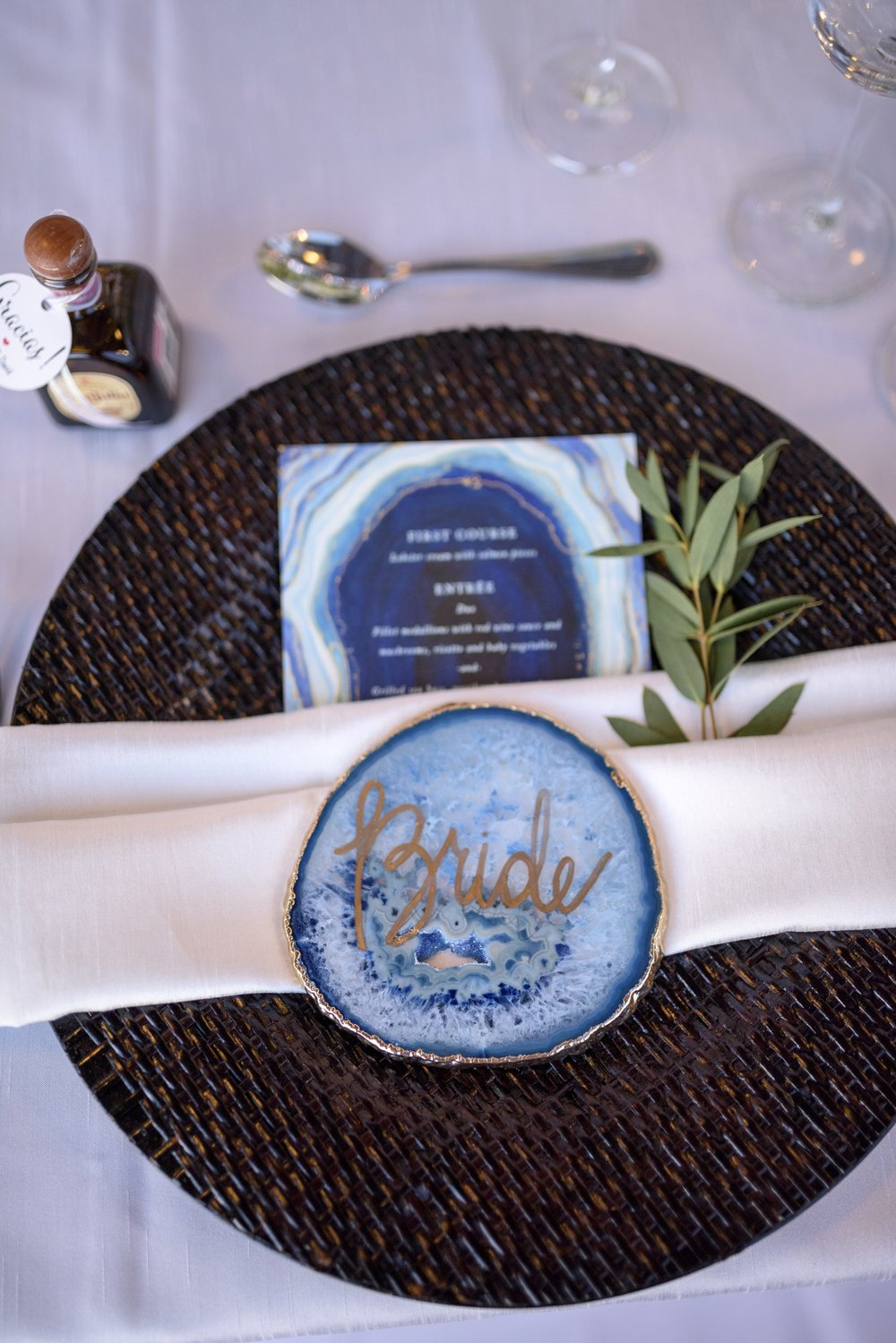 Agate place settings with matching agate menu cards and tequila favors.