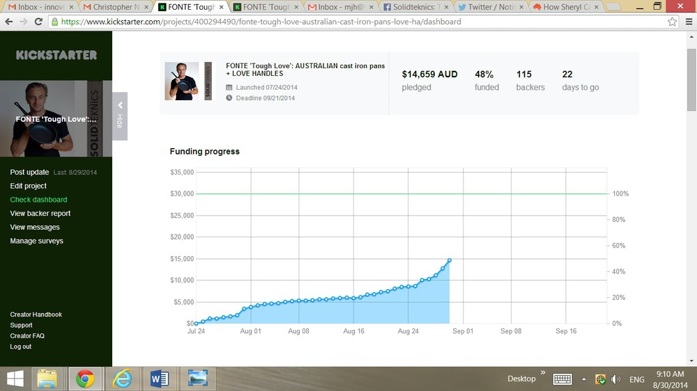 The impact on pledges to our Kickstarter Fonte project was immediate and much appreciated, and shows the continued power of print media in Australia. The article was posted to Twitter too, so we're not sure what the split would be between print and Twitter referrals. Either way, it was powerful.