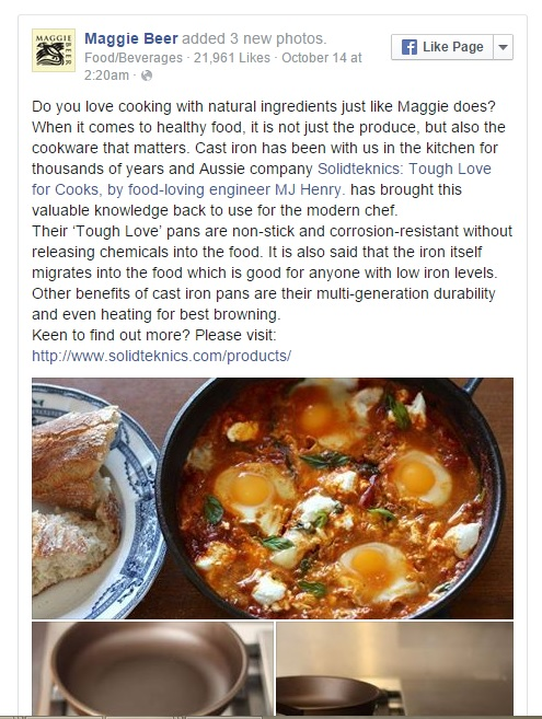 To see more of the buzz in the food media, click above or here: http://www.solidteknics.com/press-love  Apart from the wonderful support from chefs and food media, this is what our customers are saying about AUSfonte pans: www.solidteknics.com/testify  Note: all comments were independently expressed and none were sponsored.....all genuine enthusiasm for something new and extraordinary.