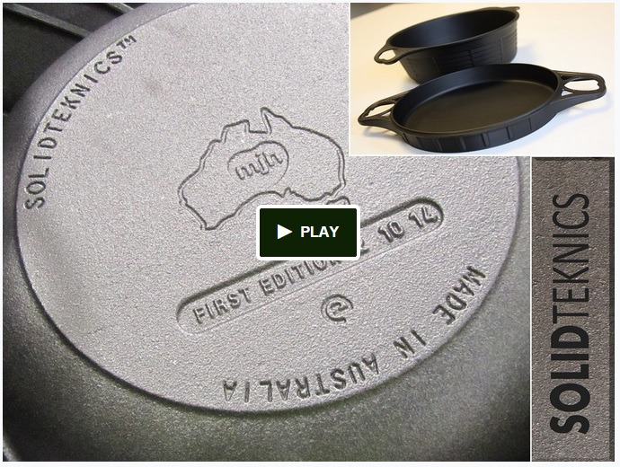 Click here for our Kickstarter crowdfunding campaign: pledge $149 (plus shipping) and receive an innovative AUSfonte 32cm BIGskillet as reward. Kickstarter backers are the only ones to receive the limited FIRST EDITION model. (Retail models are cast with 'CAST' and the date, instead of 'FIRST EDITION' and the actual date of casting like the Kickstarter pans.)