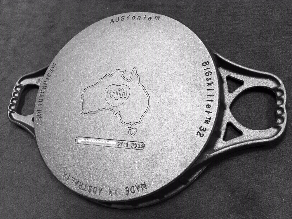 Why is the pan called 'limited and collectible'? Each BIGskillet is cast underneath with 'FIRST EDITION' (where this pan says 'Prototype') and the actual casting date, to reward Kickstarter backers for helping fund the BIG Australian moulds. (Retail versions of the BIGskillet will be released in April 2015 for around the same price, but cast with 'CAST' instead of 'FIRST EDITION'.)      Click here to secure your rare piece of Australian cookware history.....but don't delay, these heirloom FIRST EDITION pans are only available on Kickstarter, and  only until Feb 17, 2015.