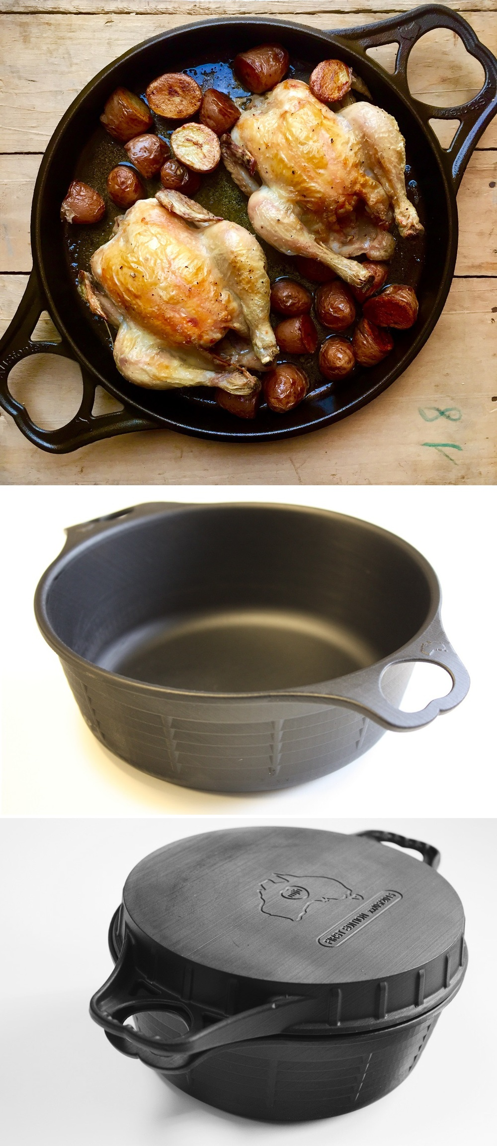 Two seriously innovative Australian-made cast iron pans: the AUSfonte 32cm BIGskillet (top) and 32cm, 7 Litre, DEEPan (middle),  which fit together as a base and lid (bottom) . This is the only time they will be offered as limited FIRST EDITION castings.  Only until Feb 17, 2015.     Only on Kickstarter.