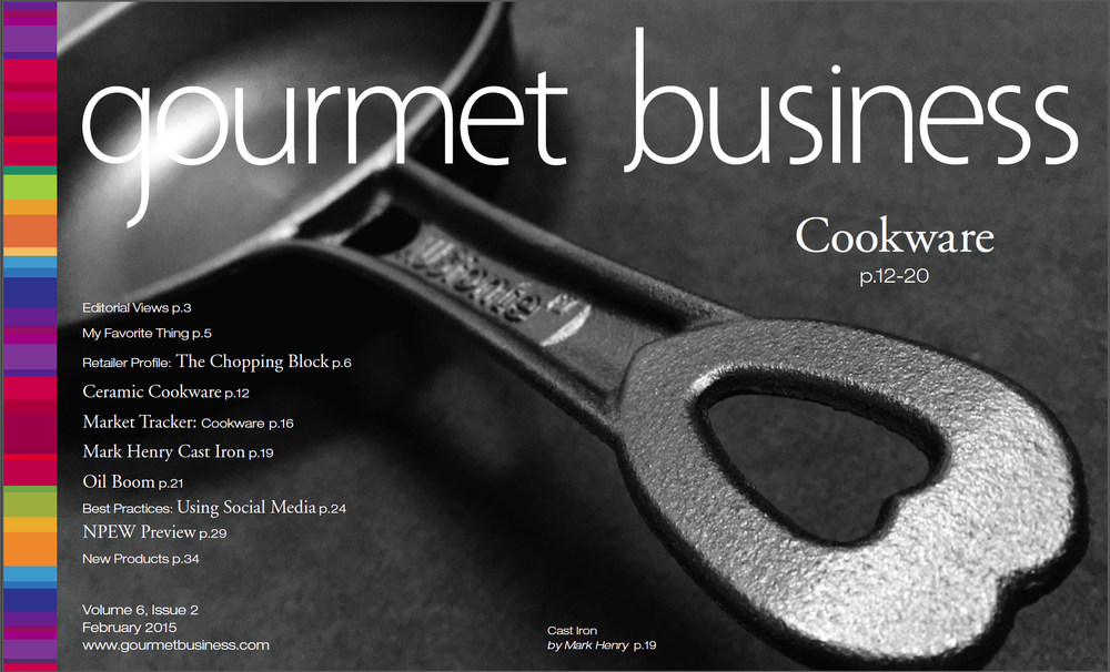 Australia's AUSfonte cast iron pans have had a lot of good press in the USA lately, including this COVER of the February Gourmet Business magazine and a two page story inside!  See pages 19-20 here: http://ezine.gourmetbusiness.com/gourmetbusiness/february_2015#pg1