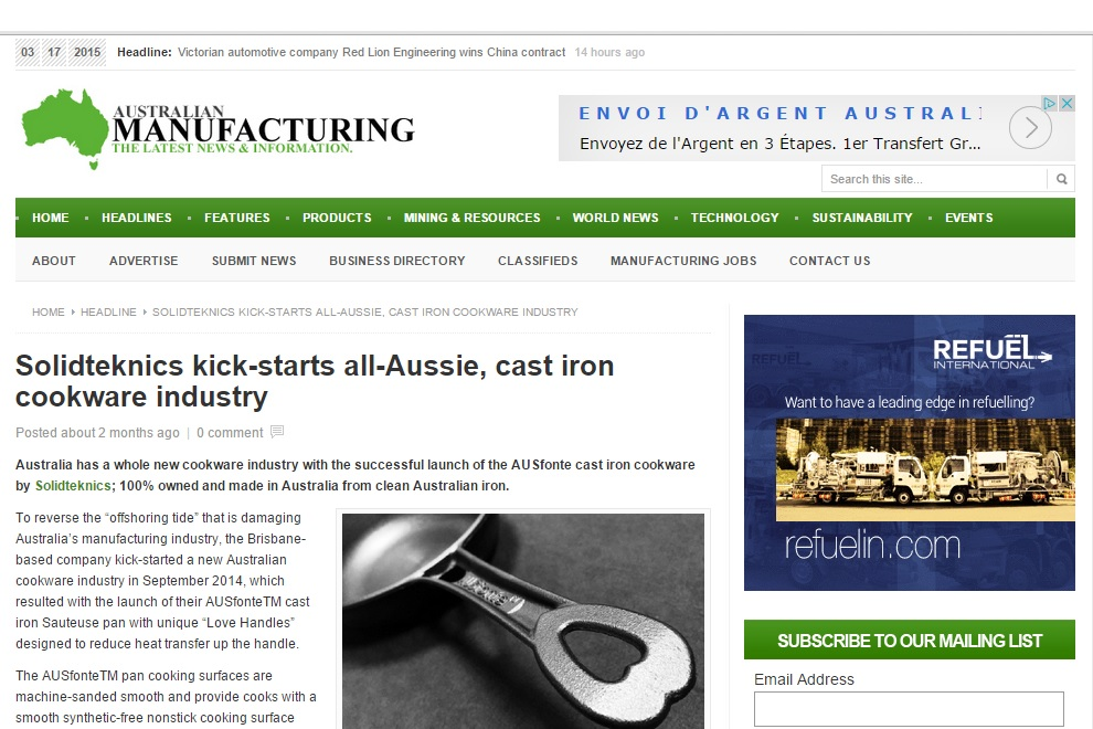 Click here to go to the original article: http://www.australianmanufacturing.com.au/25463/solidteknics-kick-starts-aussie-cast-iron-cookware-industry