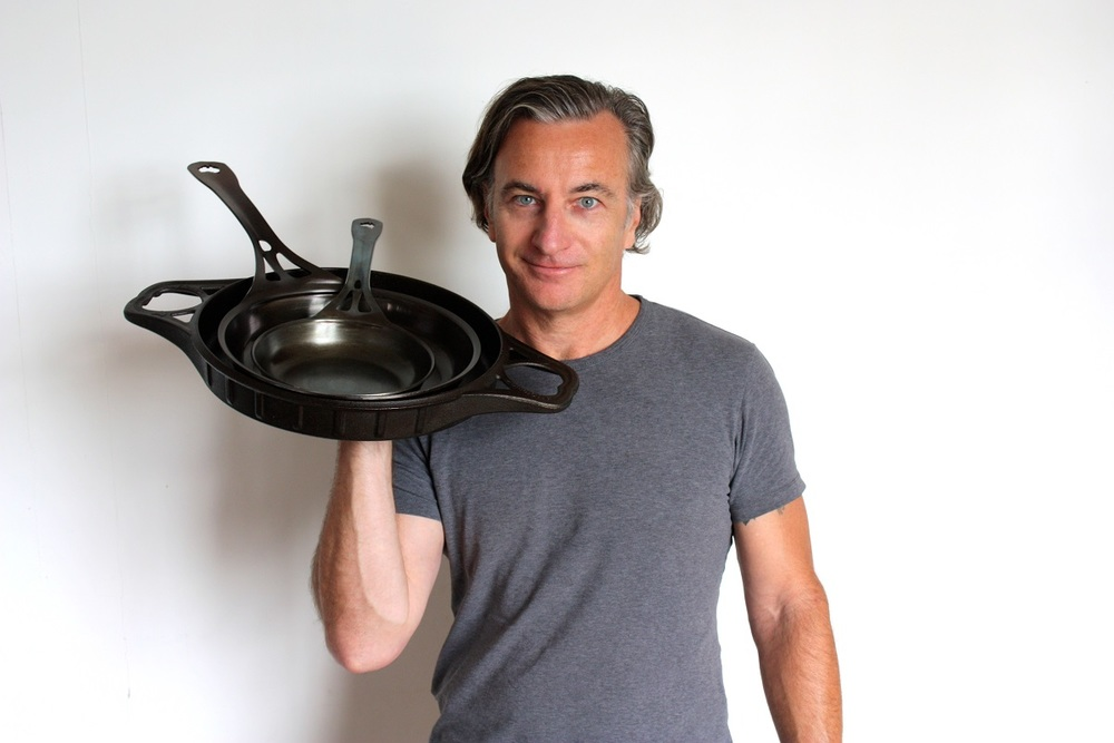 "A note from our founder and development engineer, MJ Henry: ""We're often asked to explain the difference between our two ranges of iron pans. For us, it's more about the cooking 'vibe', than just engineering, but here's my best shot at putting it into words: We've designed both ranges to work together as a full single range because there are subtle differences. The most obvious is weight, for chefs who use them all day, or anyone with weaker hands/arms, AUS-ION formed-iron/steel pans are significantly lighter than AUSfonte cast iron (eg. 24cm AUSfonte Sauteuse weighs 2.4kg, while 26cm AUS-ION Skillet weighs 1.6kg). Cast iron has greater thermal mass so takes more preheating, but then holds the heat very evenly, and longer. Because most AUS-ION pan models are quite thick for steel pans (3mm for our skillets), they still heat very evenly."" ""The cooking performance is similar for both because they are both seasoned iron: particularly the browning from the maillard reaction, and natural nonstick properties. Nothing beats seasoned bare iron or steel for those important benefits. Less obvious may be that cast iron always seasons more easily than smooth steel (because the porosity and texture of cast iron is a great anchor for seasoning, and we've got the best surface in modern cast iron: see http://www.solidteknics.com/smoothest ). Now with our Satin texture on our new upgraded AUS-ION range, both season easily, and arrive at the same glossy black seasoning that is the only healthy nonstick that can be forever renewed with a little simple maintenance. ""  ""We cook with both, and still say we prefer cooking on cast iron, and most 'purists' do.....but in reality we find ourselves reaching for AUS-ION for most mid-sized family cooking loads because it's just so easy to handle and clean up. For larger I always go with the BIGskillet - permanently installed on the cooktop - and for smaller loads the 22cm AUS-ION Sauteuse, or 16cm AUSfonte. Then less often the specialty pans for specialty dishes, like the DEEPan/BIGskillet combo for slow cooking, grill inserts for thick steaks or roasting veggies, Flaming Skillet over open flame, etc. Having said all that, we're really LOVING the new Crêpe/Griddle pan.....it not only cooks perfectly and so evenly, but has an amazing intangible 'feel' that is so *family*, somehow. Iron horses for courses!"" In the bigger picture...... ""Help us change the wasteful and damaging synthetic nonstick habit forever. Feed your loved ones great local produce cooked on a non-toxic pan that won't be thrown in the landfill after a few years. Don't buy AUSfonte and AUS-ION pans as just a technically great, healthy, sustainable product to last your whole lifetime. Invest in them as a family heirloom and spread the love down through many generations of shared cooking history.""                                                MJ Henry, SOLIDTEKNICS founder & design engineer"