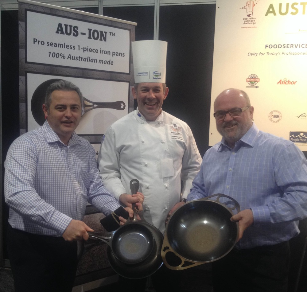 ACF committee luminaries (L to R): Neil Abrahams (ACF National President) ; Chef Steven Lunn; Lachlan Bowtel.