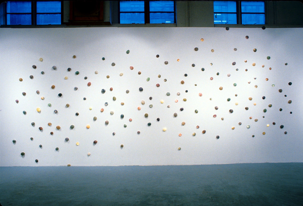 "1997, 10'x22'x2"", Installation: wish paper, fabric, nylon, wax, lights"