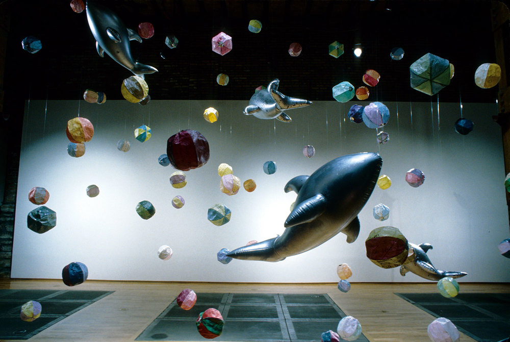 Wish Balls I, 1998, 18'x19'x22', Installation: wish paper, acrylic medium, thread, inflatable dolphins